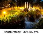 Twilight Fountain In Night...