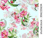 seamless pattern delicate... | Shutterstock . vector #306220634