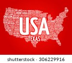 usa map word cloud made with... | Shutterstock .eps vector #306229916