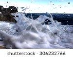 Ocean Splash With A Lot Of Foa...