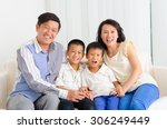 indoor portrait of asian family | Shutterstock . vector #306249449