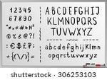 hand drawn brushed alphabet ... | Shutterstock .eps vector #306253103