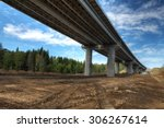 Saint Petersburg, Russia - August 7, 2015: Bridge spans of the overpass on the highway in the Russian forest. - stock photo