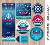 set of marine wedding cards... | Shutterstock .eps vector #306283274