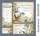 set of floral wedding cards... | Shutterstock .eps vector #306283280