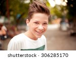 smiling kid boy with stylish... | Shutterstock . vector #306285170