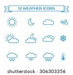 set of weather icons for design ... | Shutterstock .eps vector #306303356