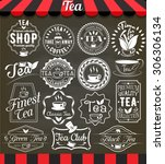 white set of vintage retro tea... | Shutterstock .eps vector #306306134