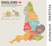 a large  colored map of england ...   Shutterstock .eps vector #306307616