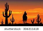 cowboy and desert sunset | Shutterstock .eps vector #306311618