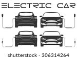 silhouette of electric car....