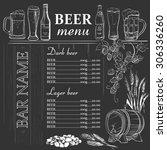 beer menu hand drawn on... | Shutterstock . vector #306336260