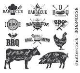 bbq emblems and logos | Shutterstock .eps vector #306340238