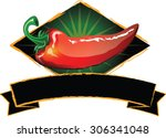 hot pepper logo or label design ... | Shutterstock .eps vector #306341048