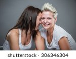 two young cheerful sister... | Shutterstock . vector #306346304