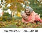 happy cute senior couple in... | Shutterstock . vector #306368510