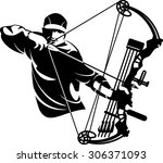 bow hunter aiming with compound ... | Shutterstock .eps vector #306371093
