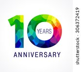 10 years old celebrating... | Shutterstock .eps vector #306372419
