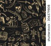 hand drawn pirate seamless...   Shutterstock . vector #306379808