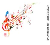 colorful background with music... | Shutterstock .eps vector #306386624