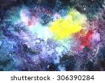 space hand painted watercolor... | Shutterstock . vector #306390284