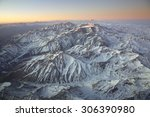 Small photo of Landscape overflying the Andes range and the Aconcagua mountain