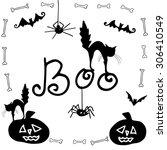 vector halloween background... | Shutterstock .eps vector #306410549