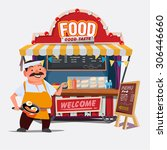 food trolley with chef... | Shutterstock .eps vector #306446660