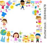 kids and frame | Shutterstock .eps vector #306446678