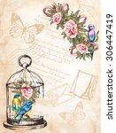 vintage postcard background...   Shutterstock .eps vector #306447419