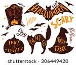 collection of halloween symbols ... | Shutterstock .eps vector #306449420