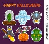 happy halloween. vector flat... | Shutterstock .eps vector #306457079