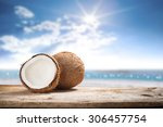 fruits of coconuts on desk space | Shutterstock . vector #306457754