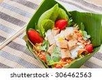 Vegetable Salad On Banana Leaf...