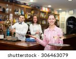 young waitress holding tray... | Shutterstock . vector #306463079