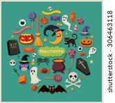 vintage halloween poster design ... | Shutterstock .eps vector #306463118