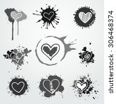 vector hand drawn hearts in... | Shutterstock .eps vector #306468374