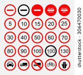 set of road signs  warning... | Shutterstock .eps vector #306470030