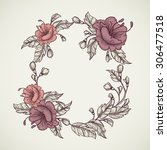 vintage floral highly detailed... | Shutterstock .eps vector #306477518