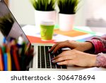 young designer working at his... | Shutterstock . vector #306478694
