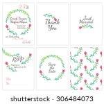 set of gentle wedding cards  ... | Shutterstock .eps vector #306484073