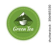 green tea circle label  sticker.... | Shutterstock .eps vector #306485330