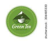 green tea circle label  sticker.... | Shutterstock .eps vector #306485330