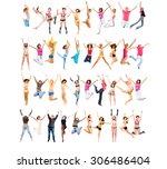 success concept jumping... | Shutterstock . vector #306486404