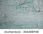 Small photo of old painted wood surface with adherent hairs from the brush