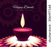 diwali festival with beautiful... | Shutterstock .eps vector #306497168