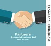 handshake businessman agreement.... | Shutterstock .eps vector #306499766