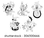 cartoon historical knights and... | Shutterstock .eps vector #306500666