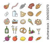 food icons hand drawn  meat ... | Shutterstock .eps vector #306502070