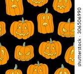 halloween seamless pattern with ... | Shutterstock .eps vector #306506990